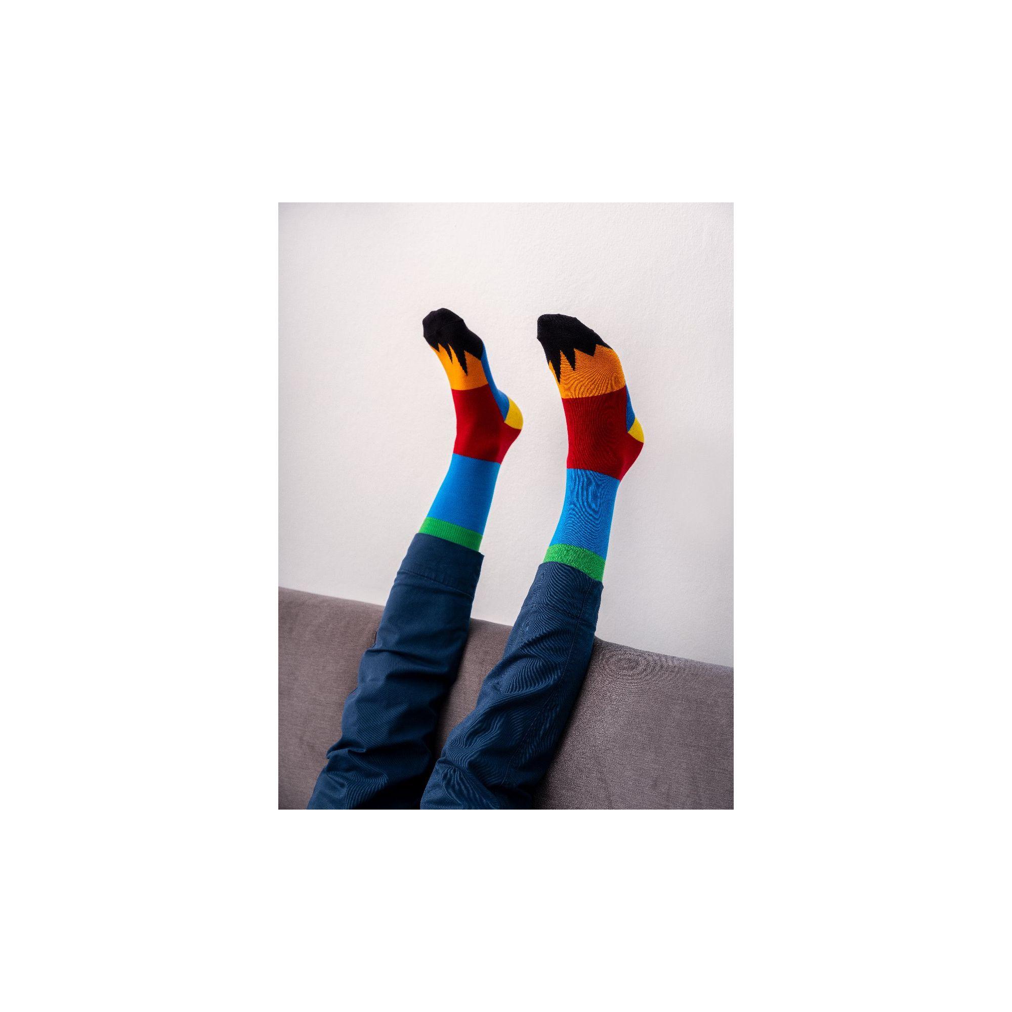 PATCHWORK SOCKS LIGHT BLUE/RED