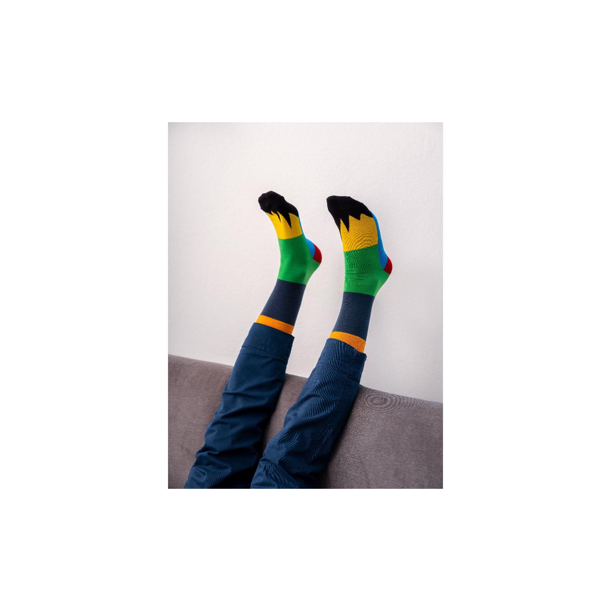 PATCHWORK SOCKS NAVY BLUE/EMERALD GREEN