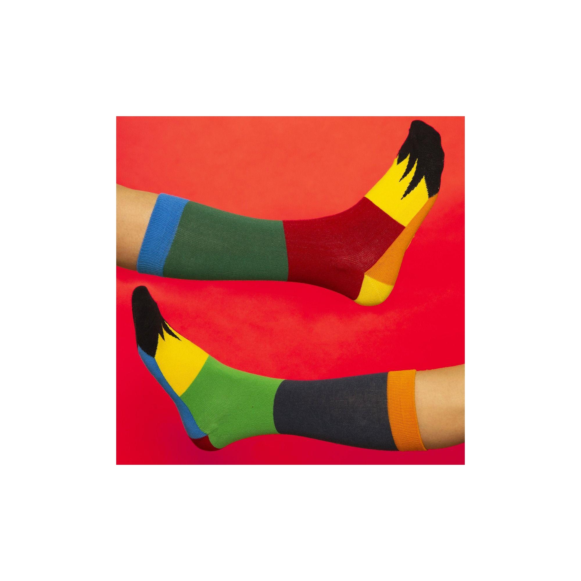 PATCHWORK SOCKS DARK GREEN/RED