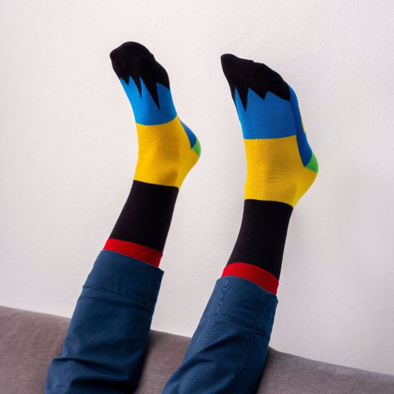 PATCHWORK SOCKS BLACK/YELLOW