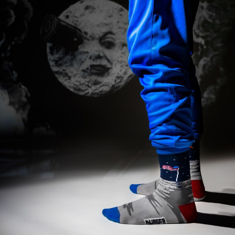 SPACE SOCKS MAN ON THE MOON