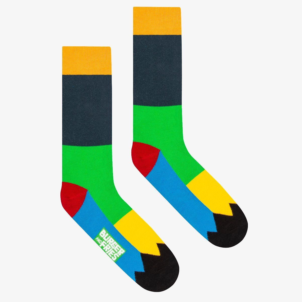 PATCHWORK SOCKS NAVY BLUE/EMERALD GREEN