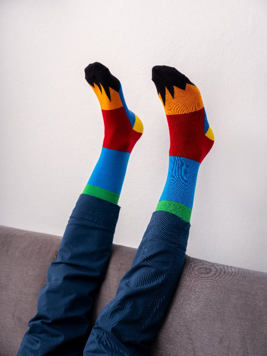 PATCHWORK SOCKS LIGHT BLUE/RED